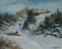 Plaisirs d'hiver à la campagne, huile 8 x 10 - enfants glissant en traîneau, par Clémence St-Laurent
