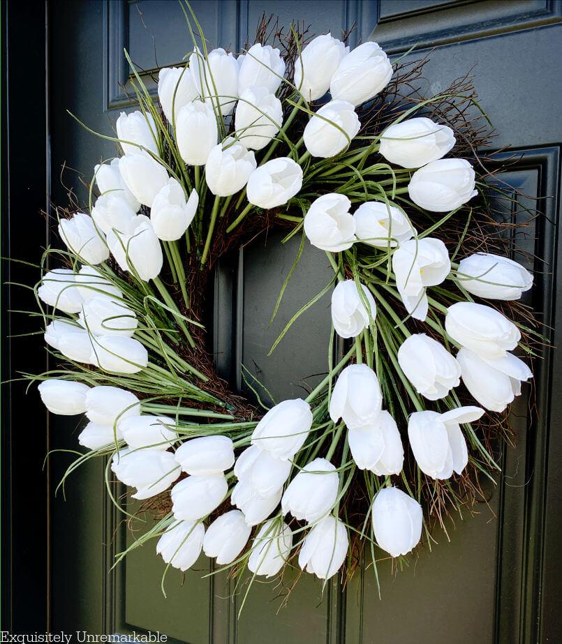 White Tulip Door Wreath