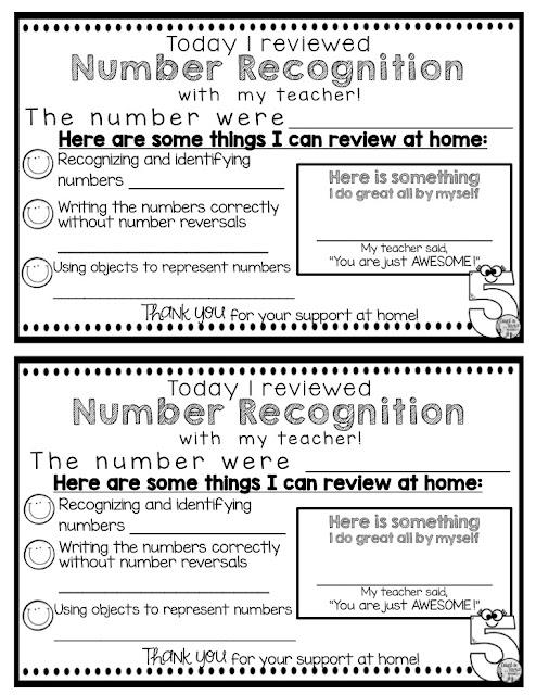 Kindergarten Parent Communication Math Numbers Freebie