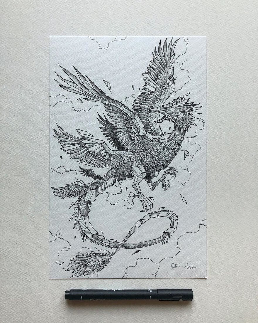 03-Thunderbird-Kerby-Rosanes-Detailed-Fantasy-Ink-Drawings-www-designstack-co