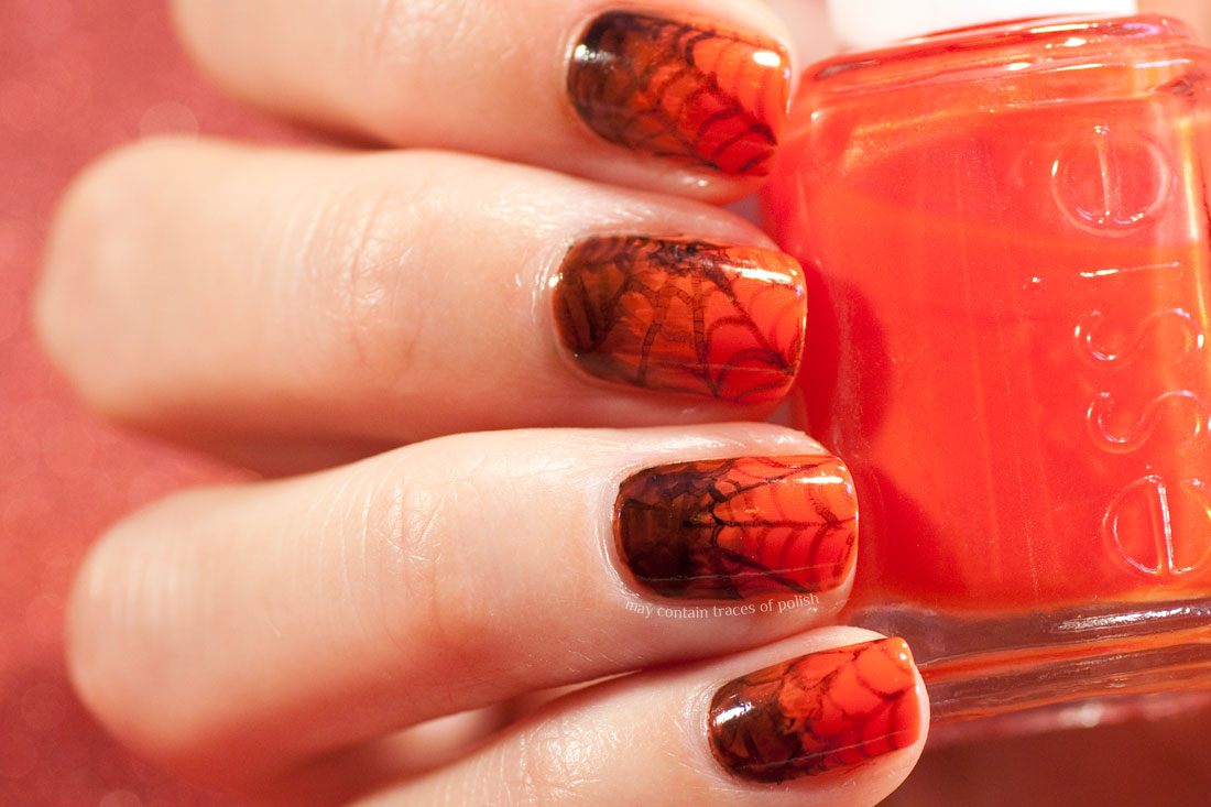 Easy Halloween Nail Art. Orange Spiderweb manicure
