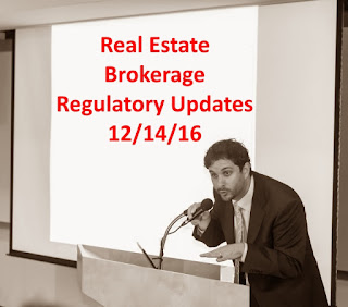 Real Estate Brokerage Regulatory Updates - 12/14/16 NYS Board of Real Estate meeting summary