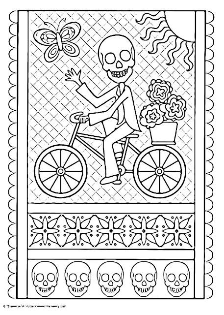 Esqueleto en bicicleta para colorear