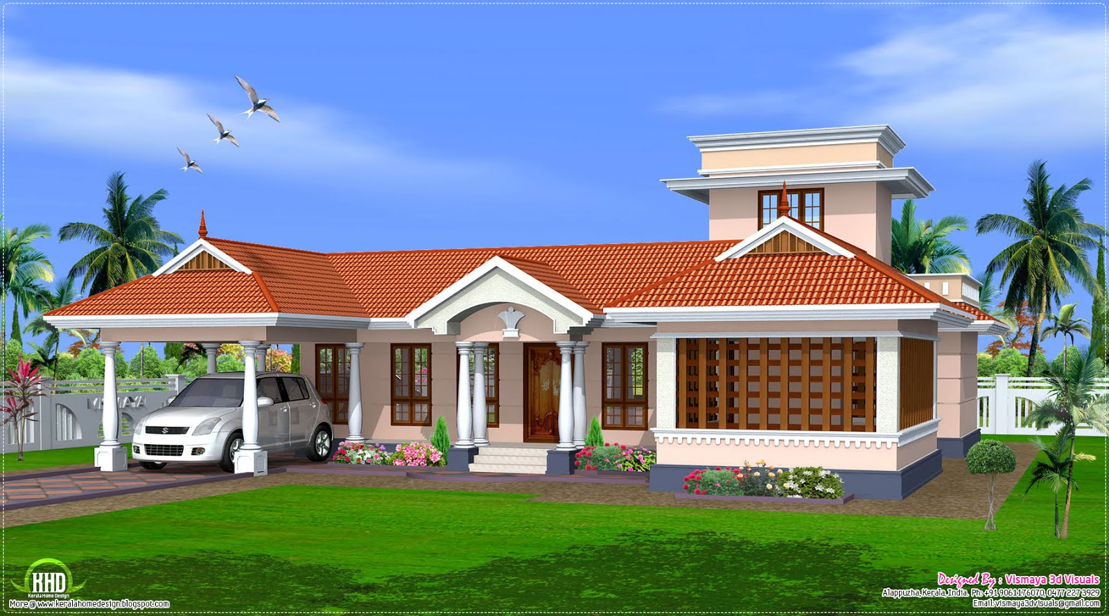 Kerala style single floor house design kerala home for Single floor house