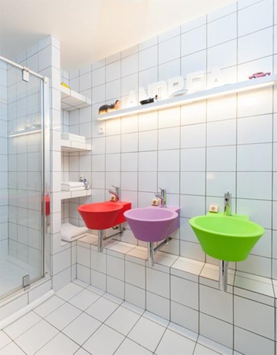 banheiro infantil, banheito criança, cuba colorida, banheiro decorado, decoração, decor