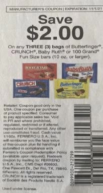 """USE $2.00/3 Butterfinger, CRUNCH, Baby Ruth or 100 Grand Fun Size Bars 10oz+ Coupon from """"Smartsource"""" insert week of 9/19/21"""