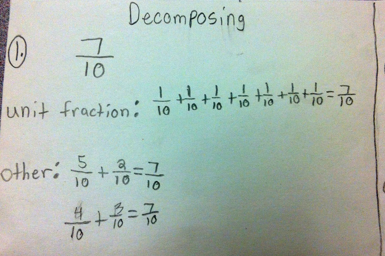 Decomposing Fractions 4th Grade Common Core