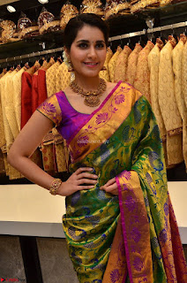 Raashi Khanna in colorful Saree looks stunning at inauguration of South India Shopping Mall at Madinaguda ~ Exclusive Celebrities Galleries 011