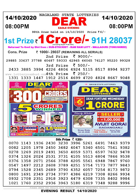 Lottery Sambad 14-10-2020, Lottery Sambad 8 pm results, Nagaland Lottery Results, Lottery Sambad Today Results Live, Night results