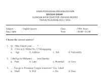 Soal Isian Singkat Bahasa Inggris Kelas 7