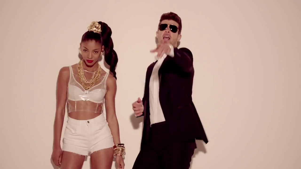 Robin Thicke and Model in 'Blurred Lines'
