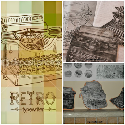 Clay typewriters collage
