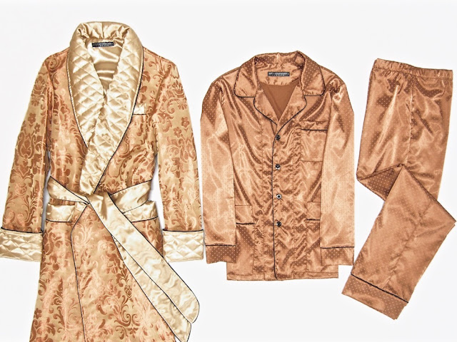 Mens custom made paisley silk dressing gown pajamas set luxury quilted robe