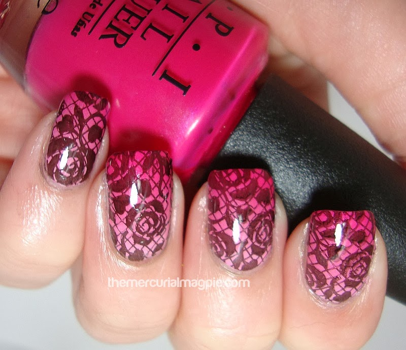 Gradient & Rose Stamping With Pueen 27 Plate