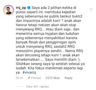 Tanggapan RRQ AP Mengenai Masalah RRQ Xin