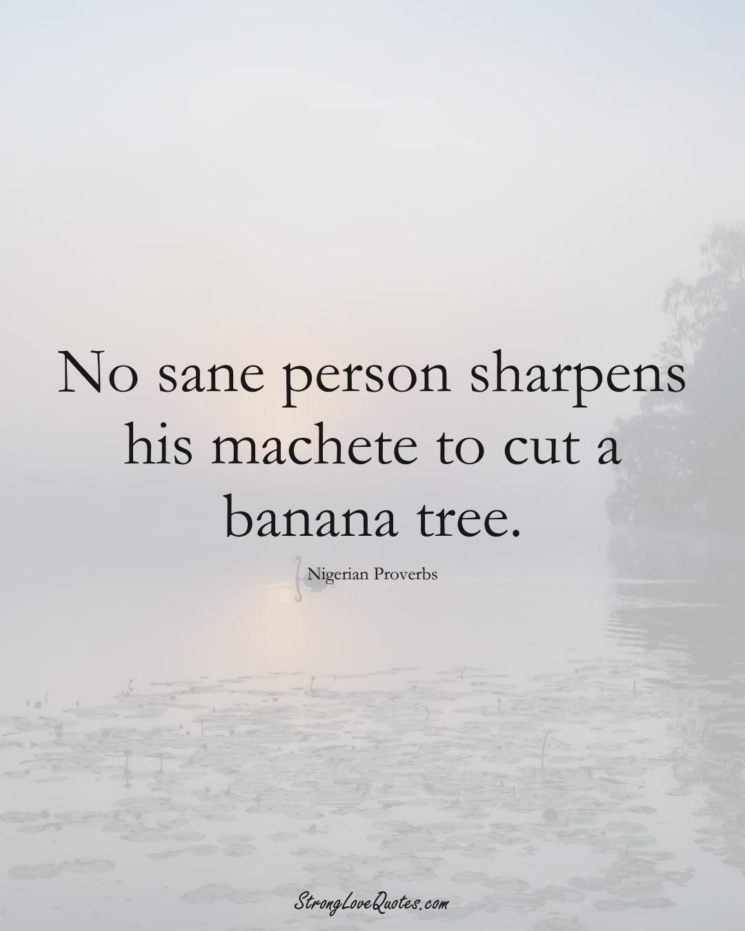 No sane person sharpens his machete to cut a banana tree. (Nigerian Sayings);  #AfricanSayings