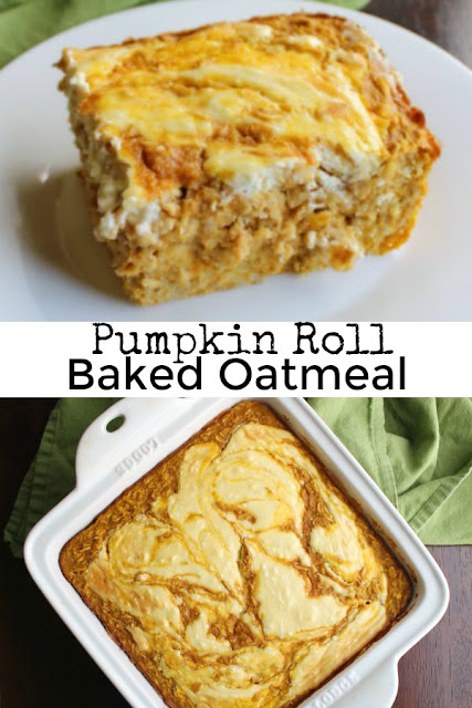 Soft and delicious pumpkin baked oatmeal with a maple cream cheese swirl. This is a hearty fall breakfast that is packed with the good stuff and will remind you of your favorite pumpkin roll cake.