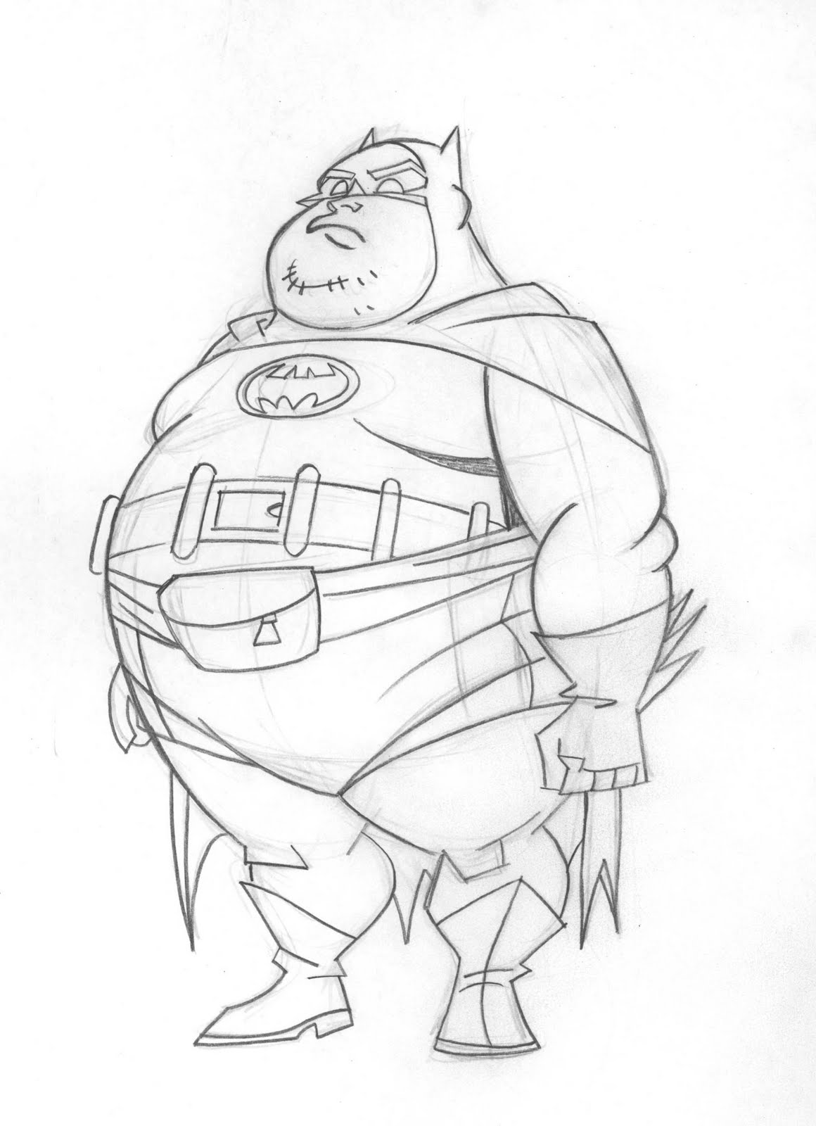 Line Art Character : Draw batman brave and the bold character design