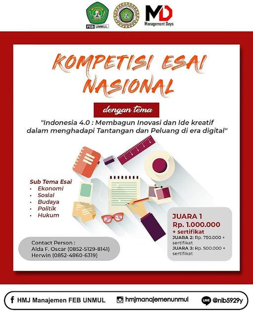 Kompetisi Esai Nasional Management Days 2019 Mahasiswa