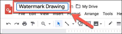 """أضف اسمًا للرسم في مربع """"رسومات بدون عنوان"""" في أعلى يمين رسومات Google"""
