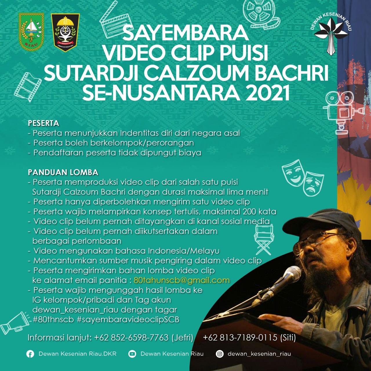 Poster Sayembara Video Clip Puisi Sutardji Calzoum Bachri