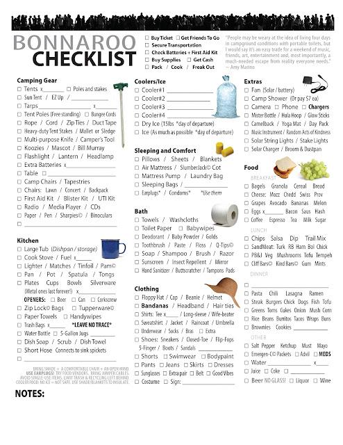 Bonnaroo Checklist
