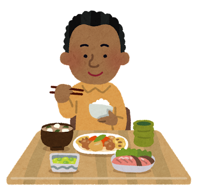 和食を食べる黒人の男性のイラスト