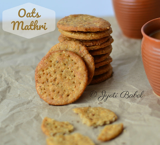 Oats Mathri | Mathri is an ever popular deep fried snack that goes well with Indian masala chai. In this version, I have prepared them it with oats flour. www.jyotibabel.com