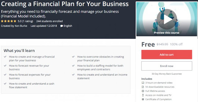 [100% Off] Creating a Financial Plan for Your Business| Worth 149,99$