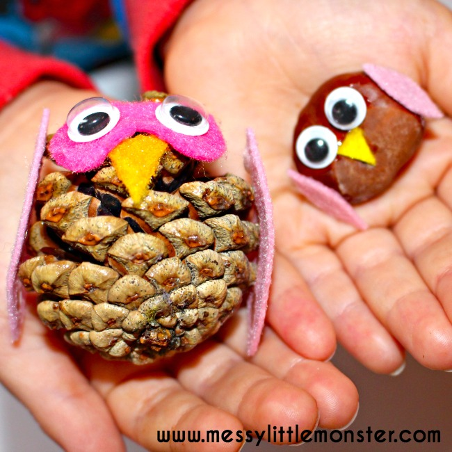 Autumn/ Fall kids owl craft ideas using nature. Nature owls made from pine cones, conkers and felt scraps.