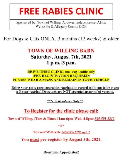 8-7 Rabies Clinic In Allegany County