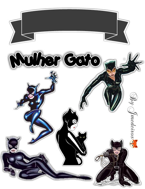 Catwoman: Free Printable Cake Toppers