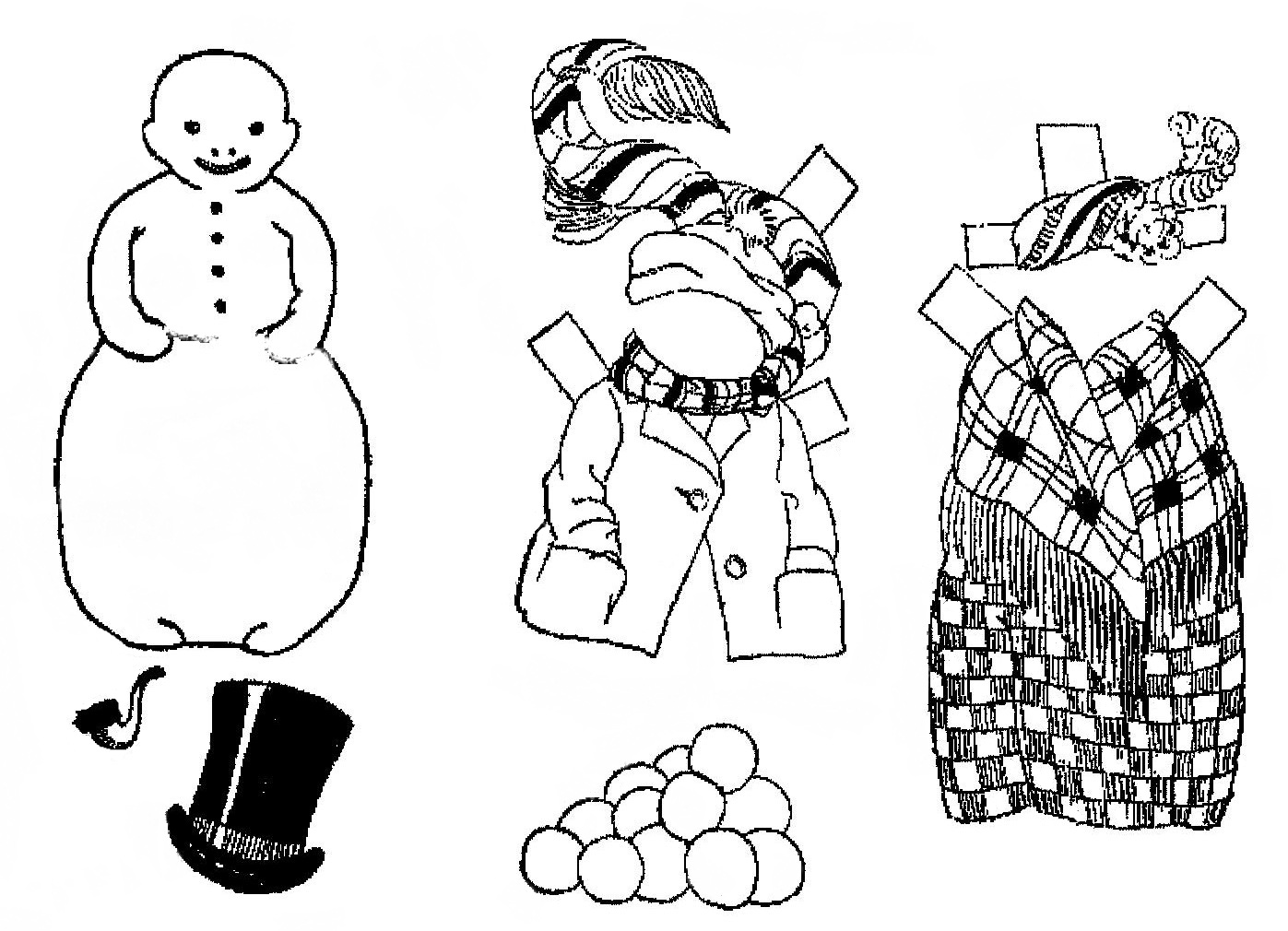 Mostly Paper Dolls Too Billy The Snowman Paper Doll
