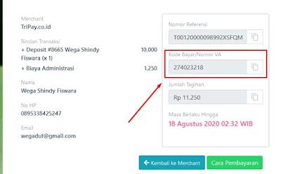 Nomor Virtual Account Pembayaran