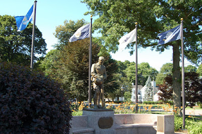 one of the many war memorials on the Franklin Town Common, this one commemorates World War I