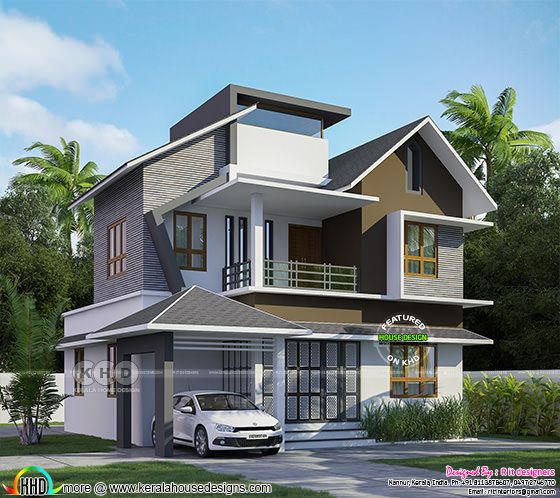 2007 sq-ft mixed roof Modern Kerala home plan