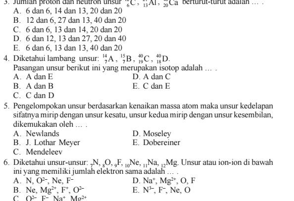 Latihan Soal UAS SMA Kelas 10 Kimia Semester 1