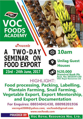 SEMINAR ON FOOD TRAINING AND EXPORTING FOR STUDENTS AND NON-STUDENTS