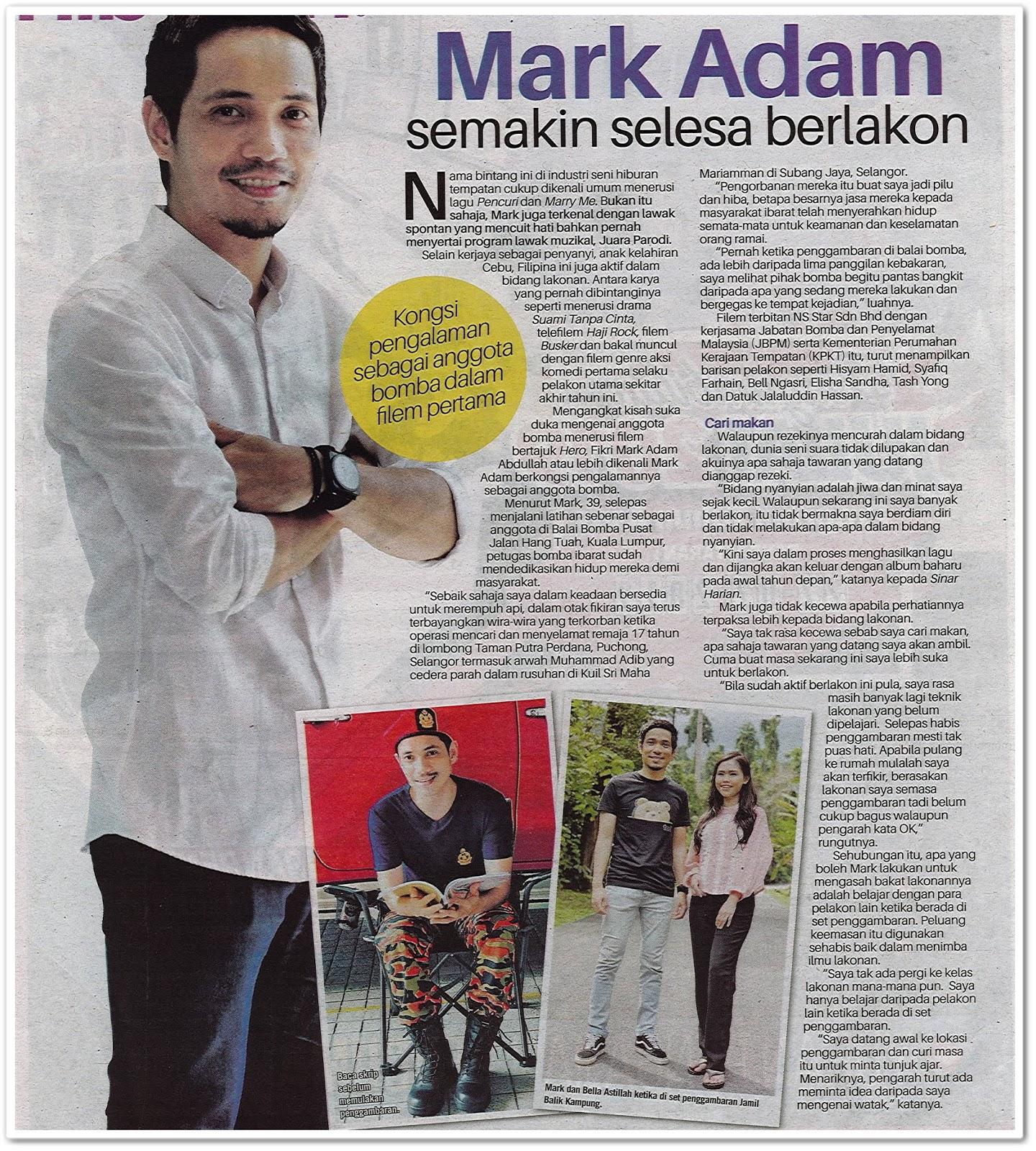 Mark Adam semakin selesa berlakon - Keratan akhbar Sinar Harian 13 Julai 2019