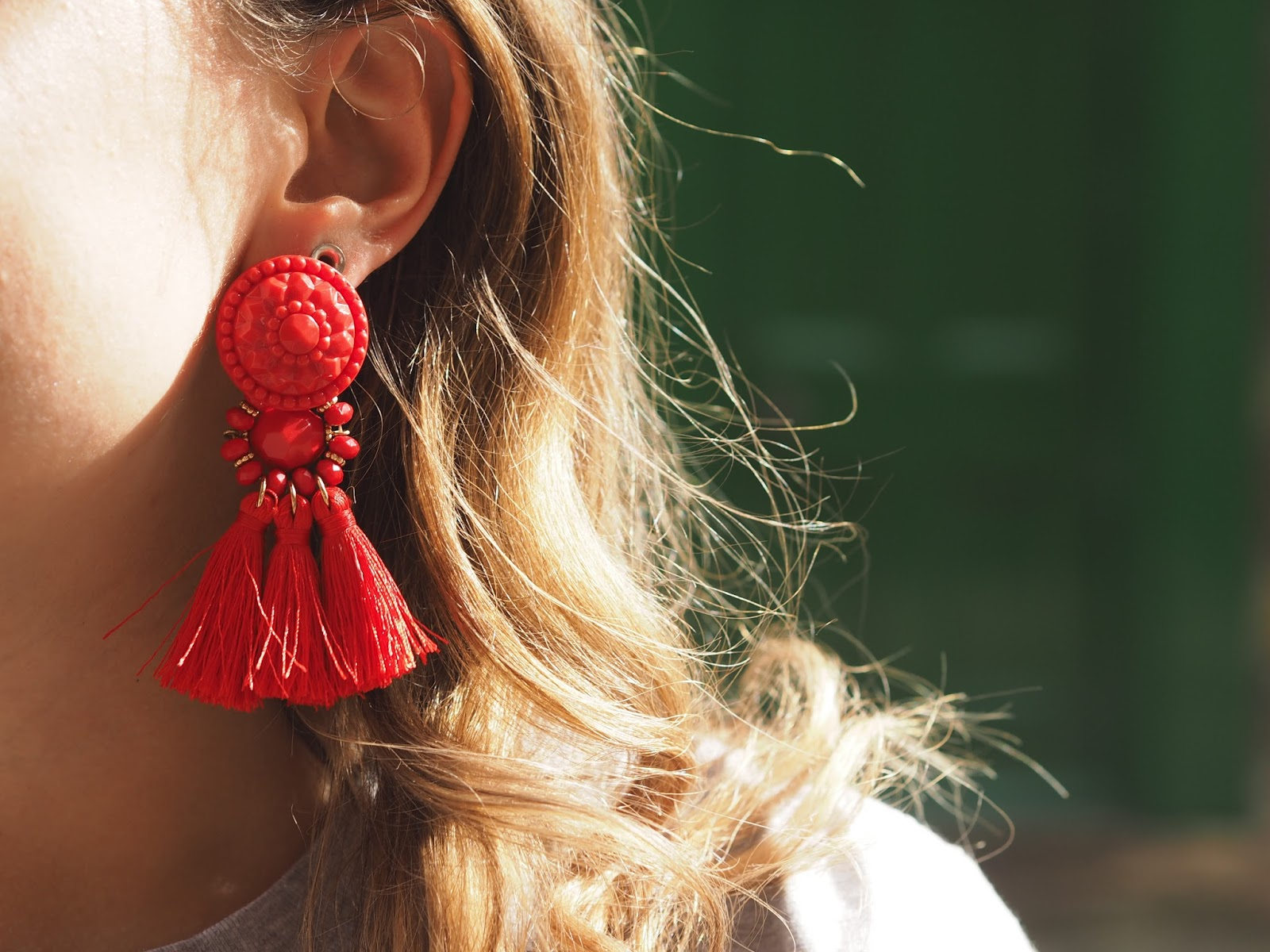 hm red earrings