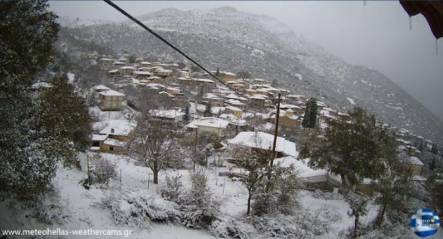 Χιονισμένη και πανέμορφη η Καρυά Αργολίδας