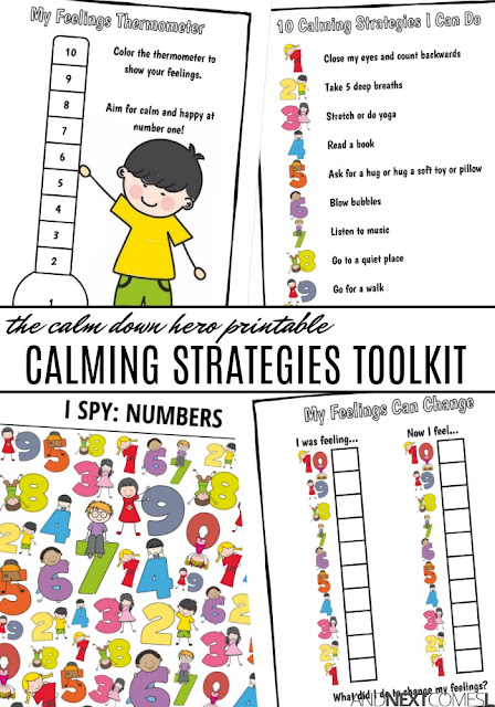 Printable calming strategies toolkit for kids to work on self-regulation and coping skills