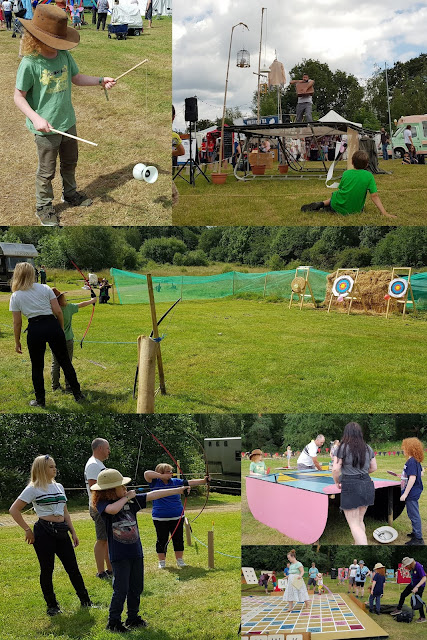 Collage showing circus skills archery giant board games and trampolining