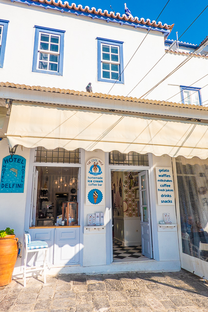 Ice cream shop Port of Hydra Greece