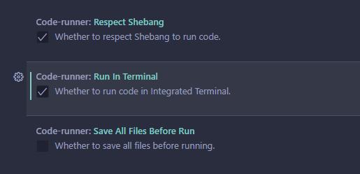code runner - run in terminal checked