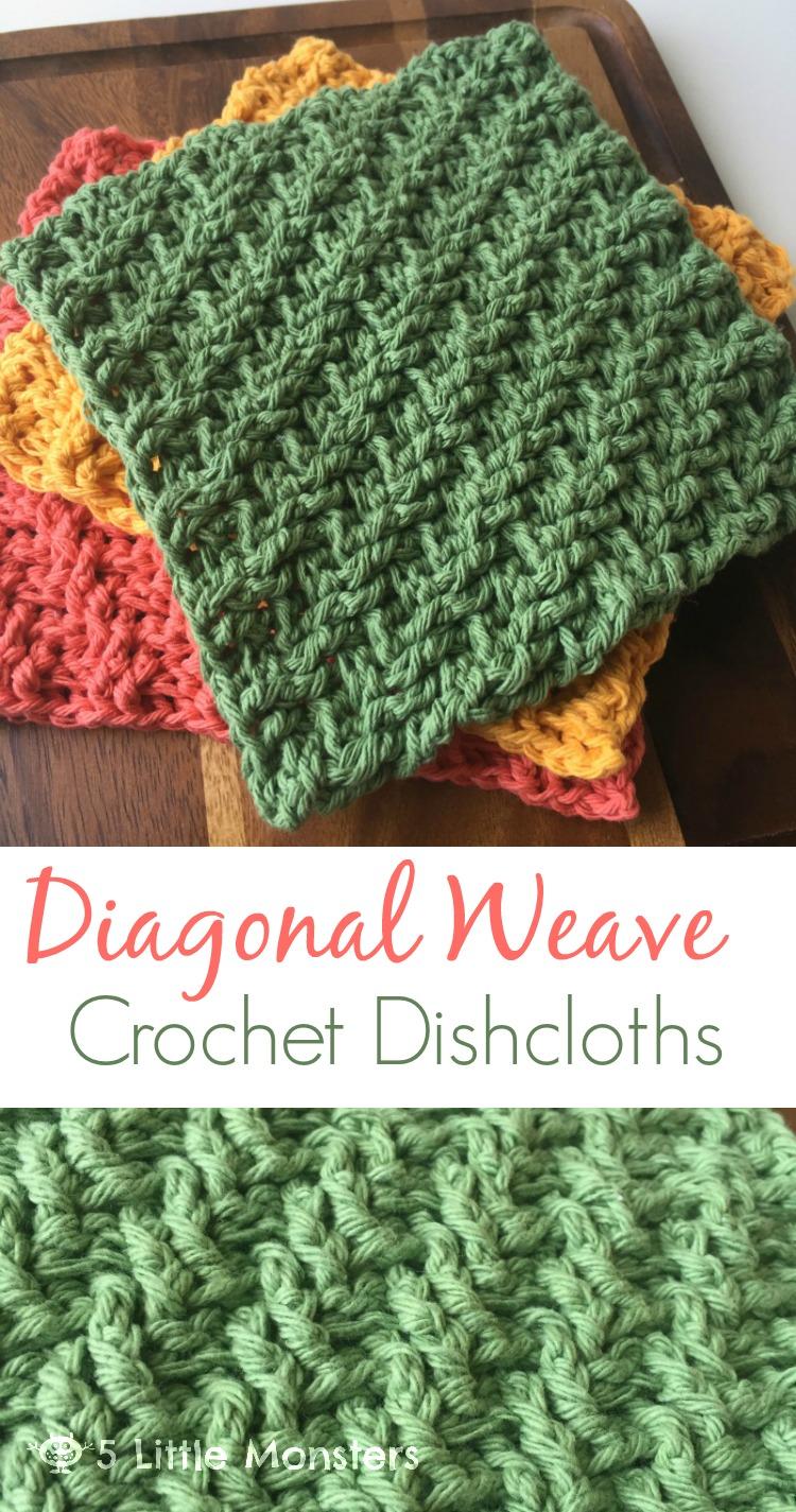 5 Little Monsters Diagonal Weave Crochet Dishcloths