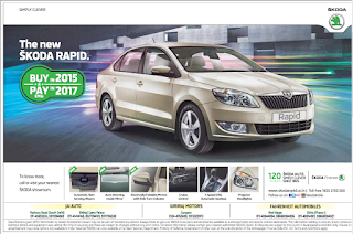 Skoda Rapid buy in 2015 pay in 2017 offer