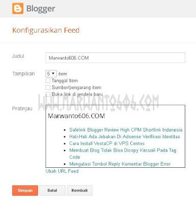 Menampilkan Feed List Dari Blog Lain