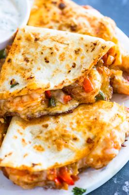 Breakfast Shrimp Quesadillas
