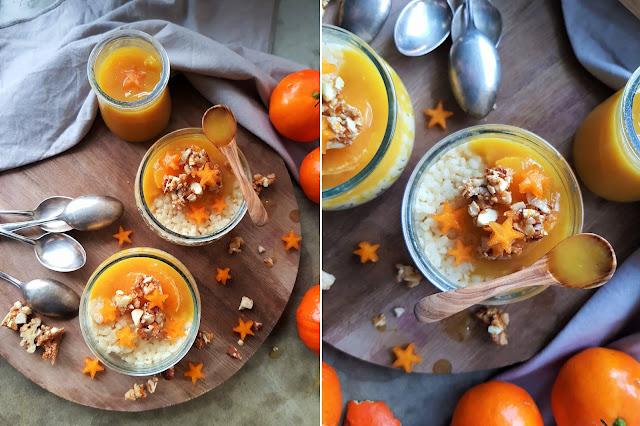 Orangen Milchreis mit Orangensauce und Nuss Crunch Topping